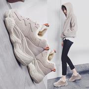 乔丹老爹鞋女加绒运动棉鞋学生冬季2018保暖二棉百搭板鞋