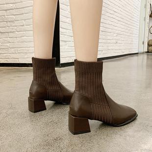 欧美英伦风短靴女秋冬百搭时尚马丁靴粗跟显脚小套筒瘦瘦女靴