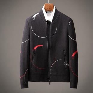 深八度冬季保暖夹克外套 高档蜈蚣纱 时尚厚棒球领男式夹克男