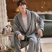 睡衣男秋冬季法兰绒两件套睡袍男加厚珊瑚绒浴袍女长款晨袍加睡裤