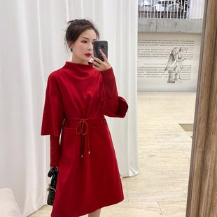 蓝语大码女装2018冬装微胖妹妹mm红色减龄遮肚连衣裙针织打底裙春