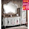 红橡开放白漆欧式浴室柜组合双盆洗漱卫浴柜落地实木仿古做旧边柜