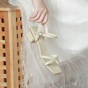 2021夏季凉鞋女韩版百搭中跟粗跟一字带气质仙女风女鞋配裙子