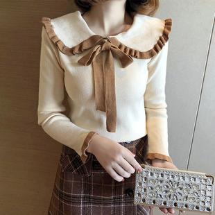 2018秋冬甜美长袖打底衫毛衣女士荷叶领蝴蝶结chic针织衫