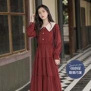 春装2021年初恋系茶歇裙桔梗裙法式复古红色连衣裙女春秋长裙