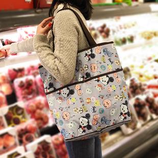 加厚防水印花环保袋拉链可折叠购物袋超市收纳袋便携手提单肩包