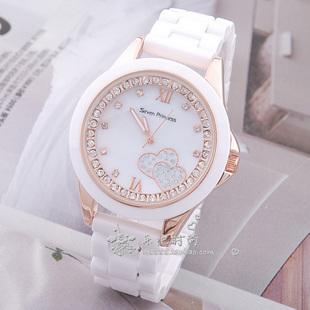 手表女学生表陶瓷表大表盘流沙爱心时尚女表腕表白色手表