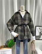 2019春季时尚格子呢子衬衫女中长款腰带收腰显瘦bf风外套