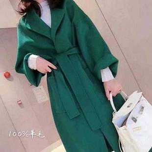 反季2021韩版双面羊绒大衣女中长款纯手工羊毛赫本风毛呢外套