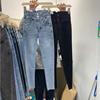 2021春夏设计感排扣紧身小脚牛仔裤高腰百搭九分蓝色铅笔裤子女