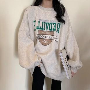 长袖套头卫衣女秋冬韩国减龄宽松慵懒风加绒字母印花上衣外套