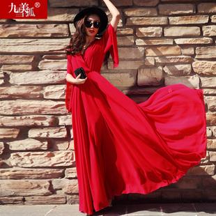 女夏季大红色沙滩及到脚踝超长款超仙气质大摆雪纺裙子连衣裙长裙