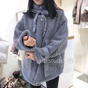 2018冬高领系带宽松羊羔毛外套时尚大口袋皮毛一体外套女