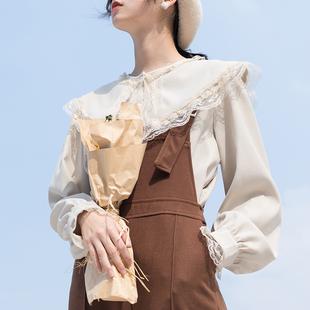 法式少女复古衬衫蕾丝打底衬衣女2018秋冬季长袖娃娃领上衣女