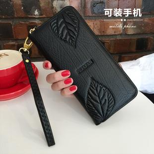 时尚大气2018女士钱包长款皮夹真皮拉链钱夹多功能手拿包