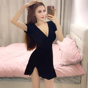 夏装性感低胸V领短袖高腰荷叶边弹力黑色紧身开叉包臀连衣裙
