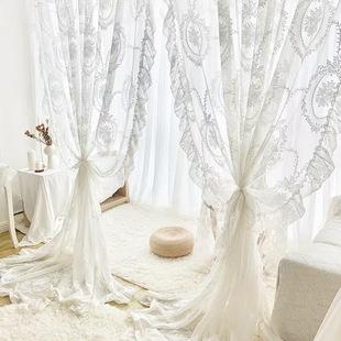韩式蕾丝卧室阳台法式窗帘洛可可复古荷叶边公主风飘窗窗纱帘成品
