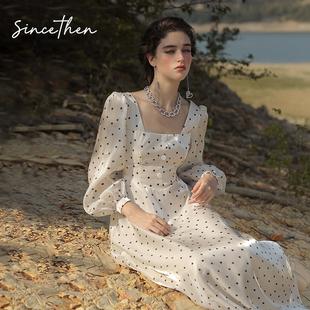 SINCE THEN《温柔的风》茶歇法式在逃公主波点雪纺长袖连衣裙女秋