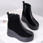 欧洲站2018秋冬季棉靴子女鞋加绒坡跟厚底短靴磨砂真皮短筒马丁靴