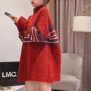 2021秋冬百搭慵懒风条纹红色加厚半高领毛衣女套头打底衫日系冬