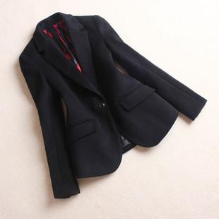 2018秋冬羊绒小西装女士加厚短款羊毛西服一粒扣呢子外套