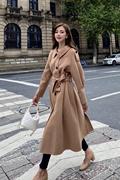 卡其色双面法式羊绒大衣女2020赫本风长款系带高端毛呢外套