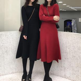 ASM2018冬季 侧开叉不规则裙摆连衣裙