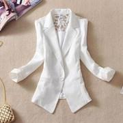 夏季女短款小西服西装职业气质潮七分袖薄款蕾丝外套