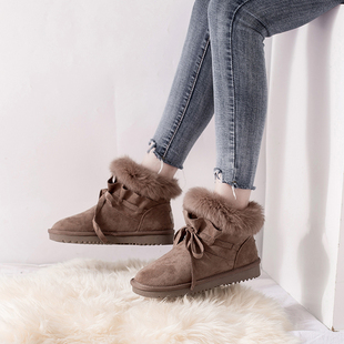 鮀品毛毛棉鞋女加绒冬季2018短靴子潮保暖加厚雪地靴短筒女靴