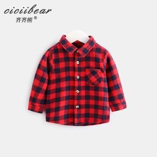 齐齐熊 0-3岁男女宝宝长袖格子衬衫婴儿立领衬衣秋季上衣