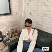 翻领蝙蝠长袖纯色针织衫女秋装韩版复古宽松显瘦短款外穿套头上衣