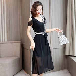 2019年夏季女款拼接条纹露肩袖系带中长款雪纺连衣裙