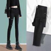 高腰黑色破洞牛仔裤女夏紧身小脚2021年春装显瘦铅笔九分裤子