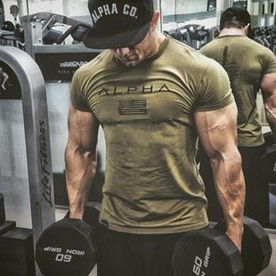 肌肉博士运动体恤男健身短袖兄弟透气宽松上衣训练服时尚短袖