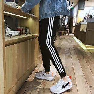 春秋运动裤男三条杠纯棉裤子潮流裤学生加绒条纹束脚校裤