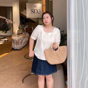 ALIN定制大码女装日系复古衬衫夏气质显瘦小衫方领泡泡袖上衣胖mm