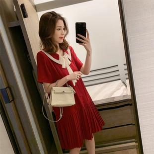 夏季2019蝴蝶结系带雪纺连衣裙女法式复古小众娃娃领百褶裙子