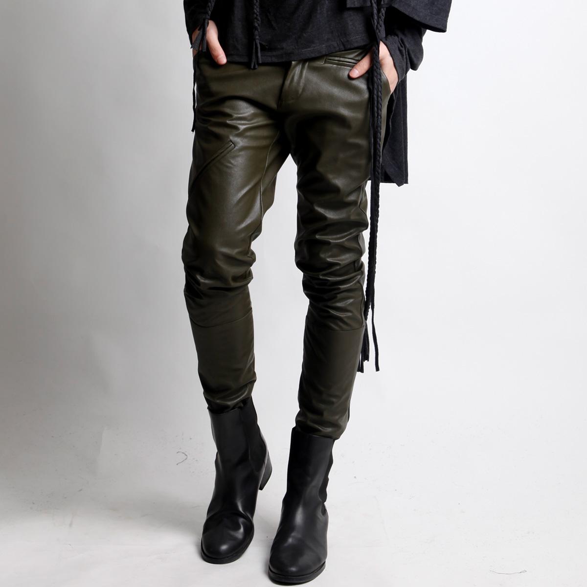 binbaron原創設計男裝pu男褲 時尚緊身韓版男士皮褲 休閑皮褲 男圖片