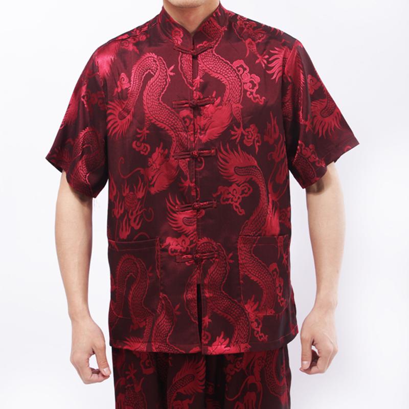 哥仨行 夏季男士唐裝中老年男短袖套裝大碼老年男士大龍中式夏裝圖片