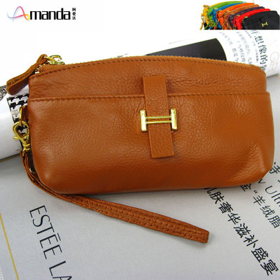 First layer of leather ladies fashion handbags and wallets leather coin bag phone package 2 shipping orange pink