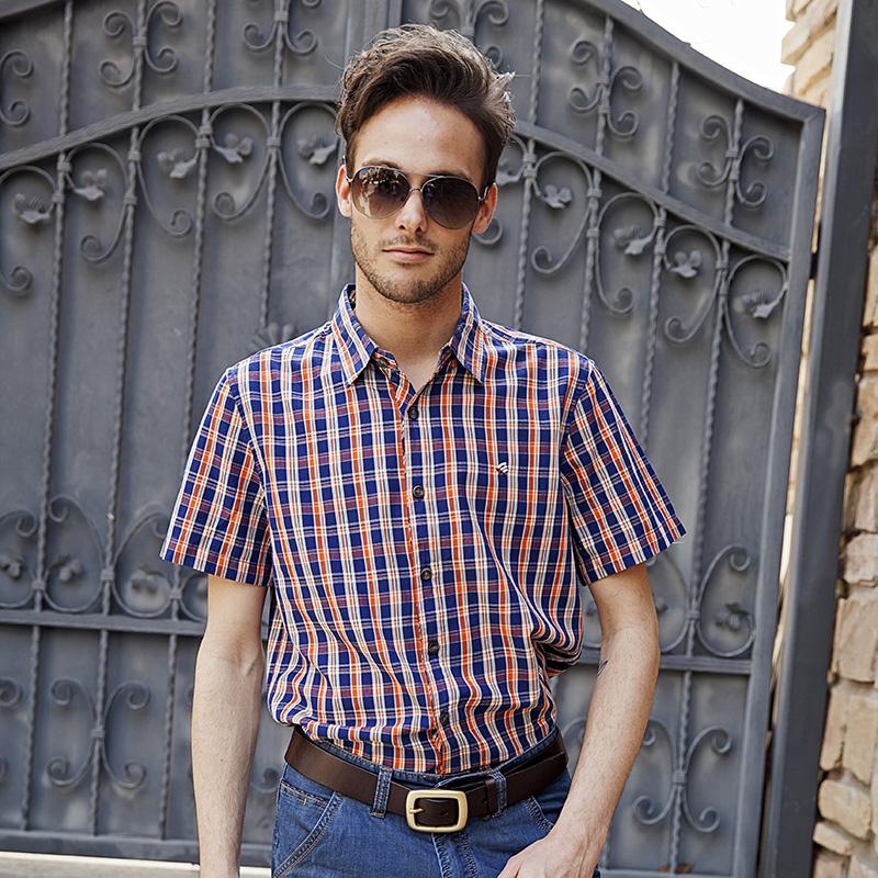 意邦奴短袖衬衫 男装 纯棉格子衬衣 正品  2014夏季新款ybn33439