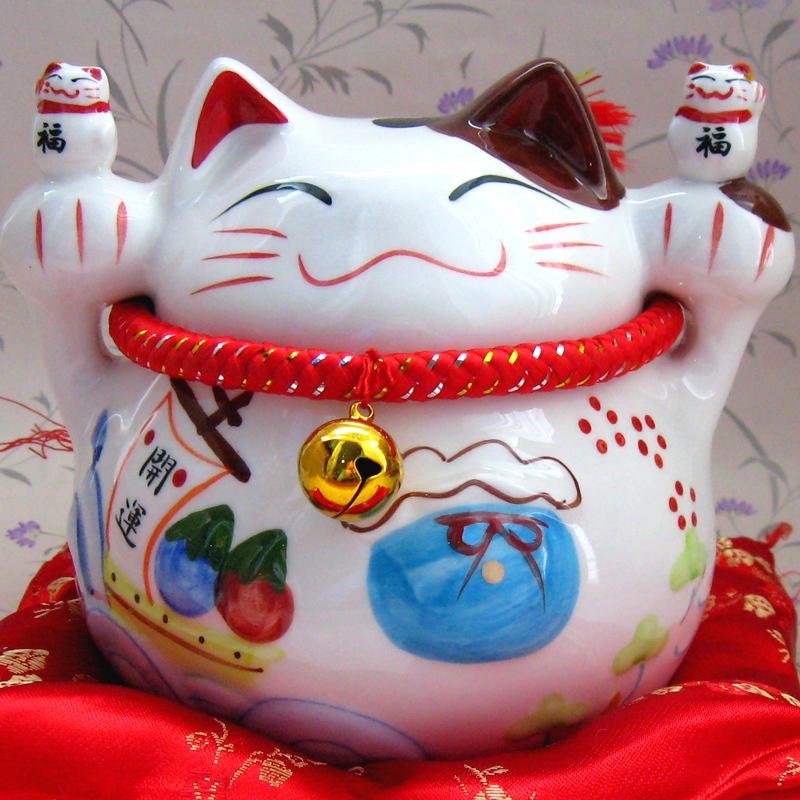 котик Пакеты почты! Экспорт в Японии 7 керамические желаю повезло кошка деньги банк свинкою орнамент открытия дома Мебель Подарки