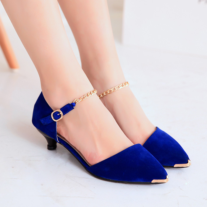 Spring 2014 new women's shoes in Europe and America with shallow mouth pointed metal shoes Baotou single shoes female Korean ladies