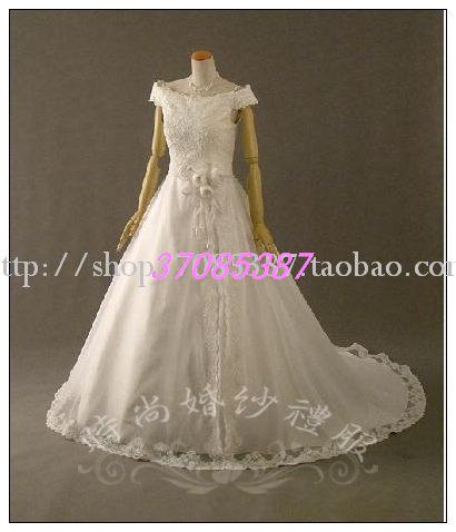 Свадебное платье 2011 LASHS-0032 Плотная ткань Небольшой шлейф