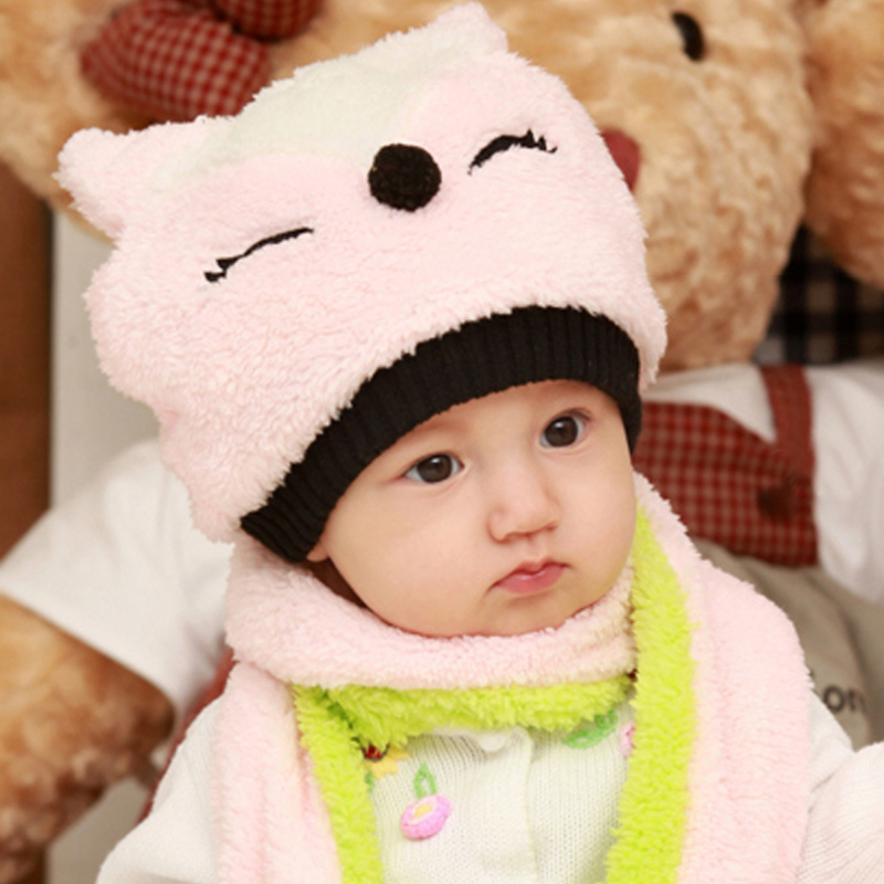 2012+cartoon+Fox+plush+Hat+baby+children+wear+warm+winter++scarf+set+of+two+double-sided+sleeve+Cap