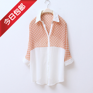 Spring/summer 2012 new style women's fashion Korean lapel batwing coat seven-sleeve chiffon blouse shirt WC1092