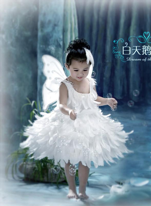 Детская одежда для танцев Детская шоу танец одежда послал Лебедь танец Феи Фея крылья перо юбка Девушки