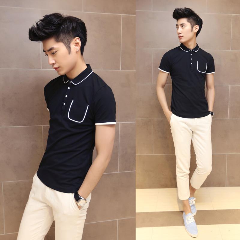 夏日季男装新款修身潮男士弹力T恤短袖POLO衫纯色百搭流行保罗衫