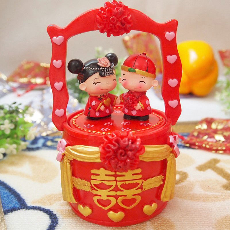 百世幸福子孙桶 创意首饰盒结婚礼物新婚房树脂摆件婚庆实用品