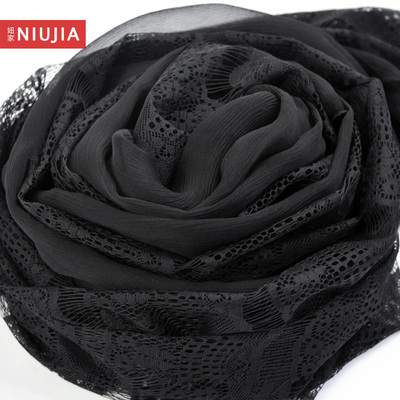 Girl home explosion models black scarf silk scarves really Silei Si stitching Korean version of the fall and winter long paragraph scarf shawl female